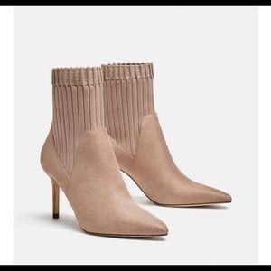 Zara Nude High Heel Sock Booties. NWT. Size 6.